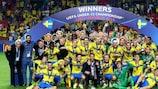 L'esultanza della Svezia dopo la vittoria in finale