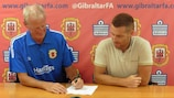 Jeff Wood signs a contract to become Gibraltar coach
