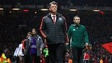 Louis van Gaal walks out at Old Trafford prior to kick-off against Liverpool