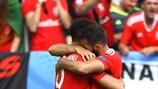 Wales celebrate their winner