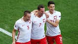 Poland's Arkadiusz Milik after scoring the only goal against Northern Ireland