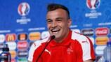 Xherdan Shaqiri, who has Kosovar-Albanian roots, was in high spirits on Friday
