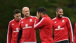 Wales players in playful mood having beaten Slovakia 2-1 while England drew 1-1 with Russia