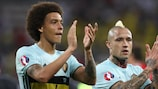 Axel Witsel and Radja Nainggolan acknowledge Belgium's fans