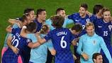 Croatia celebrate their triumph over Spain