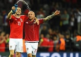 Gareth Bale and David Cotterill after Wales's win against Russia