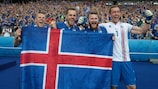 Iceland celebrate their qualification after victory against Austria