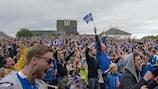 Os adeptos islandeses que seguiram o jogo no seu país