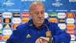 Spain coach Vicente del Bosque addresses the media on Monday