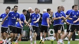 Northern Ireland go through their paces in training on Monday