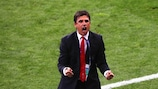 Chris Coleman celebrates the first of Wales' three goals