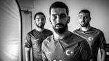 Selçuk İnan, Arda Turan and Caner Erkin at Turkey's UEFA EURO 2016 base