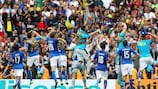 Italy celebrate in front of their fans