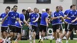 O treino de preparação de segunda-feira dos jogadores da Irlanda do Norte para o jogo com a Alemanha