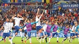 Italy celebrate their win after the final whistle
