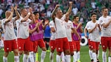 Poland players salute their vocal supporters in Nice