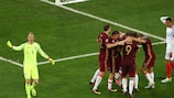 Russia celebrate their equaliser against England