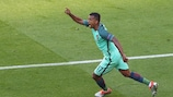 Nani wheels away after his goal for Portugal against Hungary