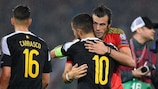 Gareth Bale and Eden Hazard embrace during the UEFA EURO 2016 qualifiers