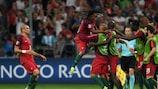 Acção do jogo entre Polónia e Portugal durante os quartos-de-final do EURO 2016