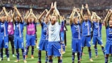 Iceland celebrate their memorable triumph against England