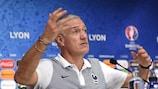 France coach Didier Deschamps talks to the media