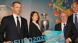 Left to right: UEFA President Aleksander Čeferin, Rome mayor Virginia Raggi, FIGC president Carlo Tavecchio and Italian Olympic Committee president Giovanni Malago