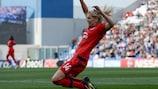 Ada Hegerberg celebrates scoring against Wolfsburg
