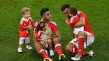 Neil Taylor and Hal Robson-Kanu celebrate with their families
