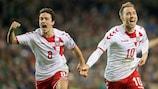 Christian Eriksen celebrates one of his three goals