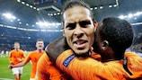 Virgil van Dijk after scoring the Netherlands' second goal against Germany