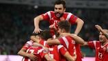 Россияне празднуют забитый мяч