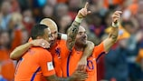 Wesley Sneijder celebrates his final Netherlands goal against Luxembourg