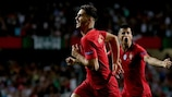 André Silva celebrates his goal for Portugal against Italy