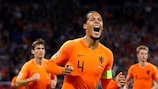 Virgil Van Dijk celebrates his opening goal against Germany
