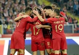 Portugal celebrate taking the lead in Poland