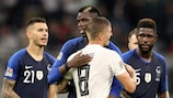 Paul Pogba and Toni Kroos after Germany's 0-0 draw against France