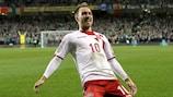 Christian Eriksen celebrates Denmark's victory in Dublin