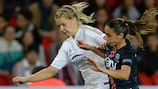 Ada Hegerberg of Lyon in 2016 action with Jessica Houara-D'Hommeaux, who joined Ol last summer