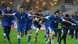 A Grécia festeja depois de superar a Roménia e qualificar-se para o Campeonato do Mundo