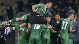 Ludogorets celebrate after taking the lead in the second minute of added time