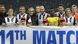 UEFA President Michel Platini joins players at last year's Match Against Poverty in Berne