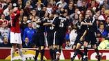 Ronaldo é felicitado pelos colegas de equipa no Real Madrid