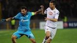 Zenit's Danny pursued by Torino's Omar El Kaddouri