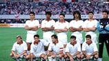 El Milan antes de su triunfo en la final de la Copa de Europa de 1990