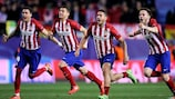 Atlético players celebrate at the end of the shoot-out