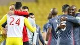 Les joueurs de Beşiktaş fêtent leur victoire à Monaco