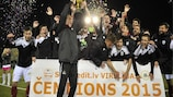 The Liepāja players and management celebrate their championship triumph