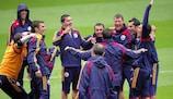 Jugadores rumanos en un entrenamiento