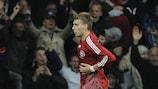 Nicklas Bendtner nach seinem Tor des Jahres gegen Portugal